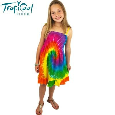 Girls Shirred Summer Rainbow Dress Tie Dye with Frill