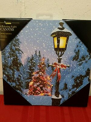 NEW~Radiance Lighted Christmas Lamp Post & Tree LED Flickering Canvas~