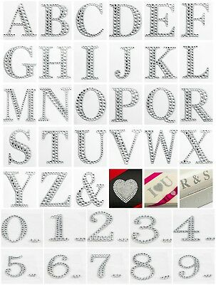 5cm Large Diamante Glitter Letters Numbers Post Box Stick On Self Adhesive Craft