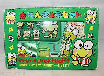 Vintage Sanrio Japan Kero Kero Keroppi Stationary Set Metal Pencil Case Memo Pad