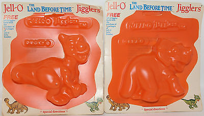 "2x Jell-O The Land Before Time Jigglers Moulds Cera Ducky 6"" New in Package 1988"