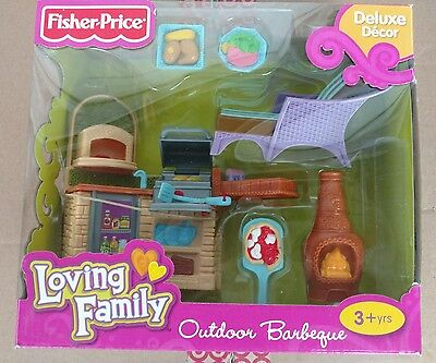 Fisher Price Loving Family Outdoor Barbeque Nib #v3402 Delux Decor And Accs,