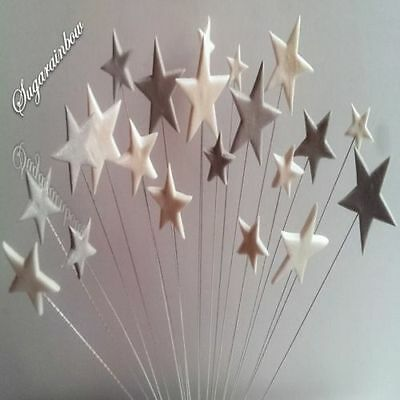 24 Edible sugar cake decorations stars on wires toppers SILVER/WHITE