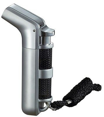 Ergo Double Jet Flame Torch Cigarette/Cigar Lighter w/ Keychain & Strap(Grey)