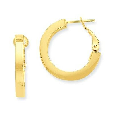 14k Yellow Gold 0.5IN Long 3.00mm Omega Back Hoop Earrings