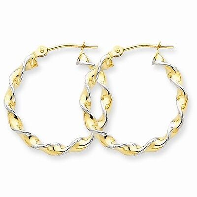 14k Yellow Gold 0.6IN Long Polished 2.75mm Fancy Twisted Hoop Earrings