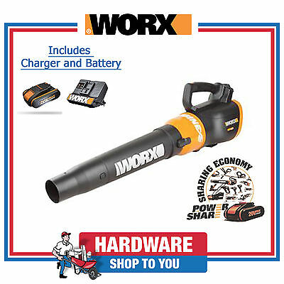 Cordless Leaf Blower Worx 20V Powershare Turbine Blower w/ Battery & Charger