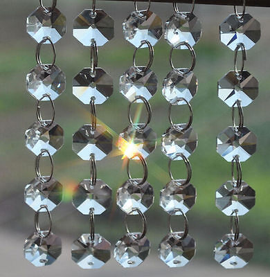 2 Holes Clear 14mm Octagon Beads Crystal Chandelier Lamp Parts Prism Ornament