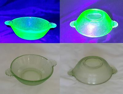 Uranium Green Glass Bowl with Shell Handles Beautiful Glow