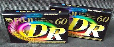 2 x New Blank Audio Tapes Cassettes - Fuji DR - 60 Minute ( 120 uS )