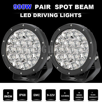 """7"""" 900W CREE LED Driving/ Work Light Spot beam round Offroad RED &420W/675wjeep"""