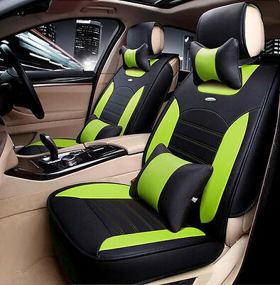 Black Leather Car Seat Covers Waterproof Universal Fit 5 Seats Car Front Rear