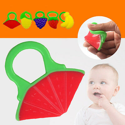 Flexible Baby Fruit Teether Teething Toys Chewable Silicone Teethers With Rings