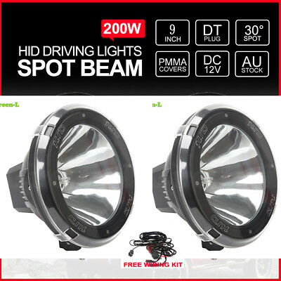Pair 9Inch 100W Hid Driving Lights Xenon 12V Spotlights Black Offroad Work 4X4