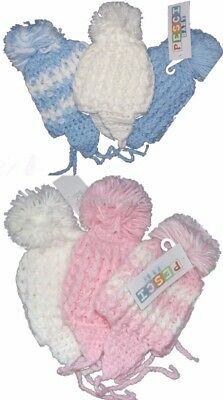 Babies Boy Girl Unisex Knitted Pompom Winter Hats Newborn 0-3 3-6 6-12 Months