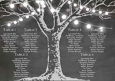 Personalised Fairy Lights Chalkboard Wedding Table / Seating Plan Large A1 A2 A3