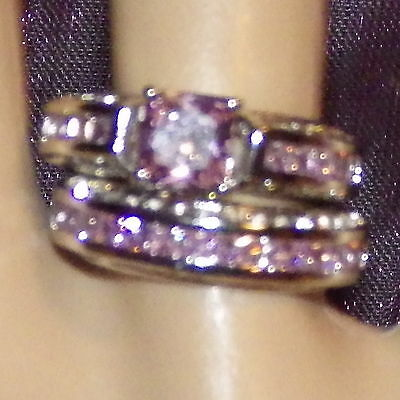 New 925 Sterling Silver Filled Pink Cubic Zirconia Crystal Ring Set For Women