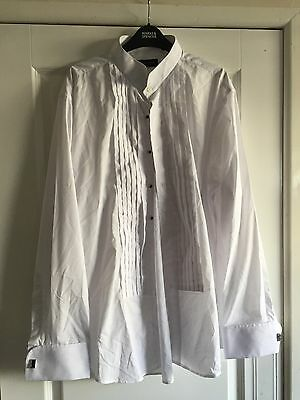 """Mens White Long Sleeved Dress Shirt & Black Bow Tie - Taylor & Wright 18"""" Neck"""