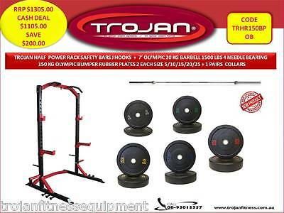 Half Power Rack Heavy Duty Chin Up + Spotters + Olympic Barbell + 150 KG Bumpers