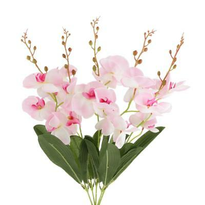 Artificiale farfalla orchidea 5-Branch fiore di seta Wedding Bouquet Decor