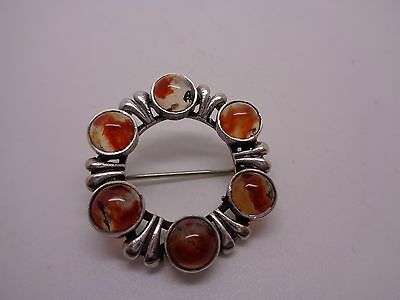 Antique Scottish Moss Agate And Silver Brooch ,kilt Marked Silver To Back