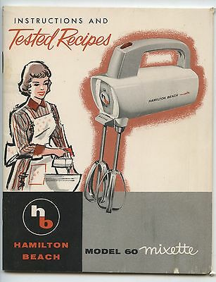 Old 1960's Hamilton Beach Model 60 Mixette Tested Recipes Booklet
