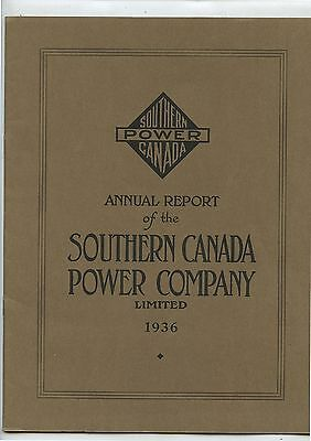 Old 1936 Annual Report Southern Canada Power Company