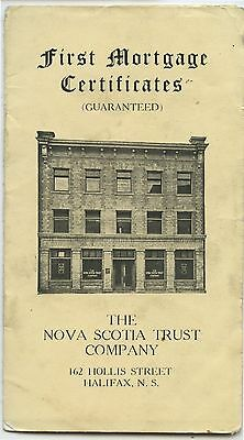 Old 1920's booklet First Mortgage Certificates Nova Scotia Trust Co