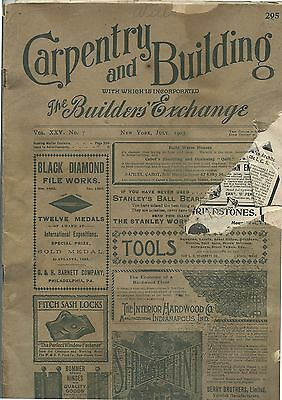 Old July 1903 Magazine Carpentry & Building New York Builders Exchange