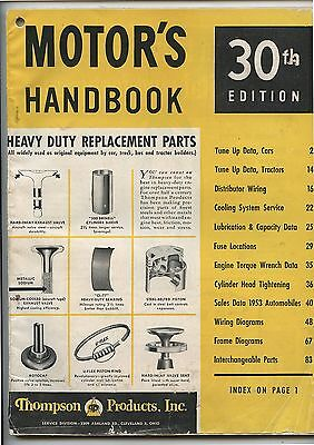 Old 1953 Motor's Handbook Catalog Thompson Products