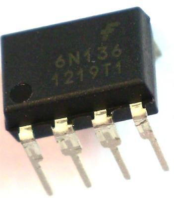 5 x Fairchild 6N136 DC Input Transistor Output Optocoupler High Speed 8-Pin PDIP