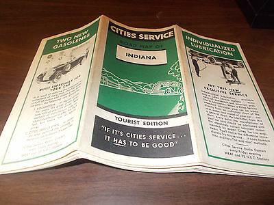 1934 Cities Service Indiana Vintage Road Map / Nice Cover Art !!