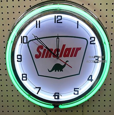 "18"" SINCLAIR Dino Gas Station Sign Double Neon Clock"