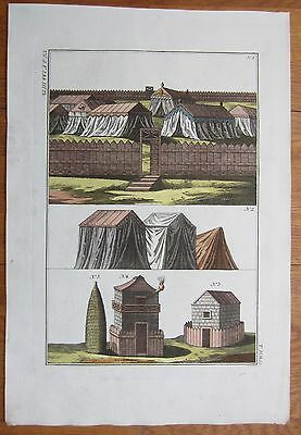 Spalart: Ancient Greece Rome Fortification (3) Large Handcolored Print - 1800