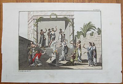 Spalart: Ancient Greece Rome Religion (2) Rare Large Handcolored Print - 1800