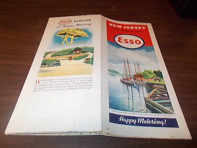 1946 Esso New Jersey Vintage Road Map / Excellent Cover Art