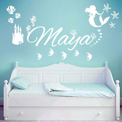 Personalised Name Children Wall Art Sticker - Disney Little Mermaid, Ocean, Cast