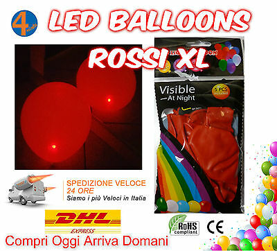 Palloncini Luminosi Giganti Rossi Led Light Balloons Red XL Grandi Palloni 25 pz