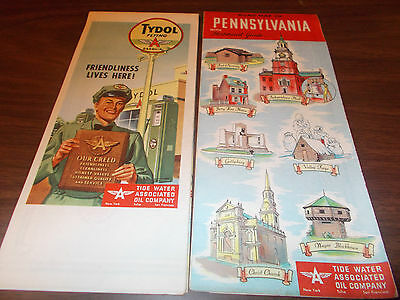 1950s Tydol/Flying A Pennsylvania Vintage Road Map / Great Cover