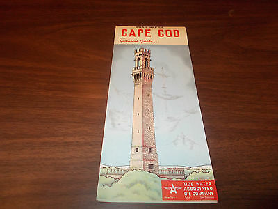 1954 Tydol/Flying A Cape Cod Vintage Road Map / Great Cover
