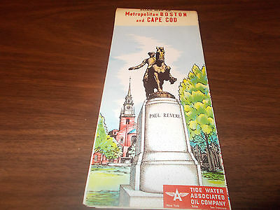 1953 Tydol/Flying A Metro Boston/Cape Cod Vintage Road Map / Great Cover