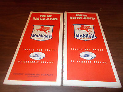 1950s Mobil New England Vintage Road Map