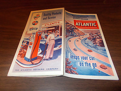 1951 Atlantic Massachusetts/Connecticut/Rhode Island Vintage Road Map/Near-Mint
