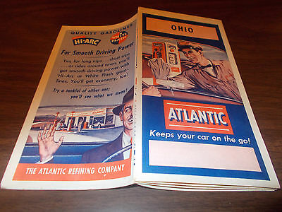 1952 Atlantic OHIO Vintage Road Map/ Near-Mint