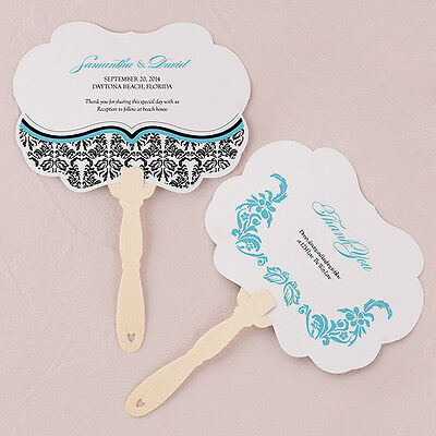 24 - Love Bird Damask Personalized Hand Fan - 18 Colors - Wedding Party Favor