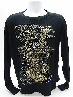 "Fender ""the Rock & Roll Lifestyle"" Mens Lg Waffle-Weave Ls Black Shirt - Euc"