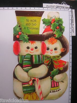 To Mom and Dad At Christmas - Snowman Couple - Vintage 1969 Christmas Card