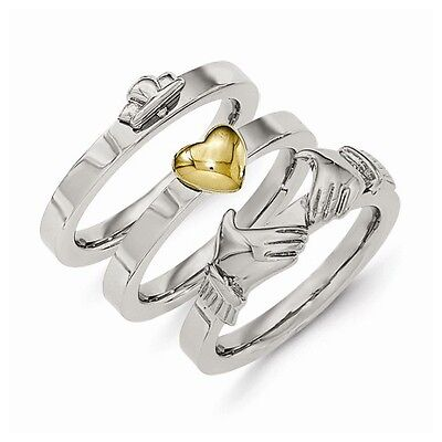 Stainless Steel Polished Yellow IP-plted Claddagh Ring Set