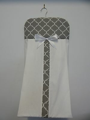 Beautiful Grey Quatrefoil Nappy Diaper Stacker 100% Cotton