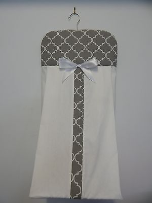 Nappy Stacker Grey Quatrefoil Diaper Holder Beautiful! 100% Cotton
